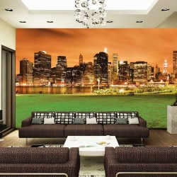 Photo mural night view of Manhattan New York from the park