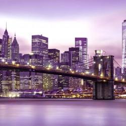 Photo mural the Brooklyn bridge in pastel glow in 2 colors