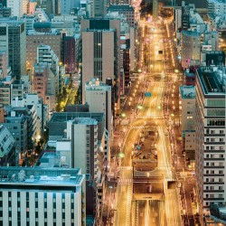Photo mural perfect night view from Tokyo street 2 colors