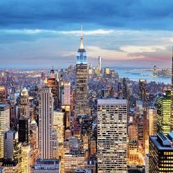 Photo mural panoramic perfect view of night Manhattan in 2 colors