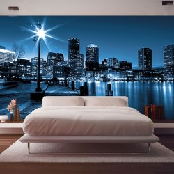 Photo mural coast Boston view with buildings in blue gamut