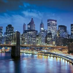 Wall decals Manhattan coast night view blue