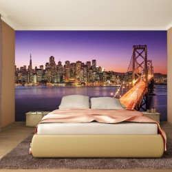Wallpapers mural bridge in purple night view