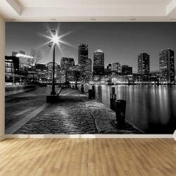 Photo mural coast view with buildings in black