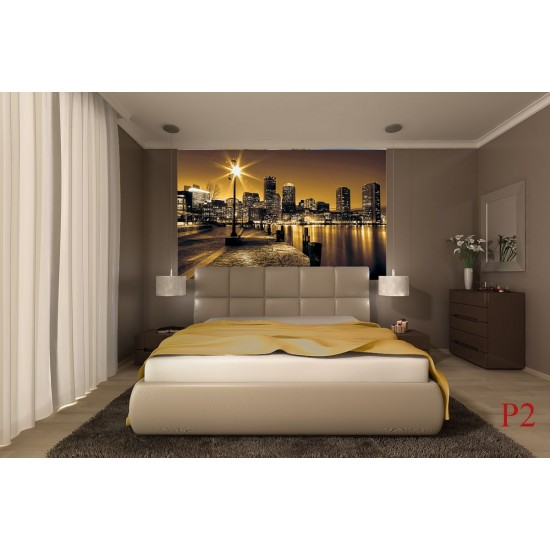 Photo mural coast view with buildings in yellow gamut