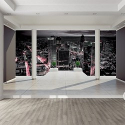 Photo mural room view with city at night 3d effect
