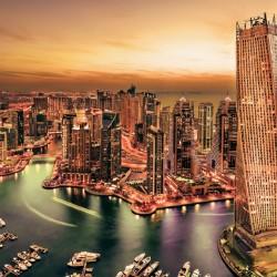 Photo mural beautiful night view of Dubai in 2 colours