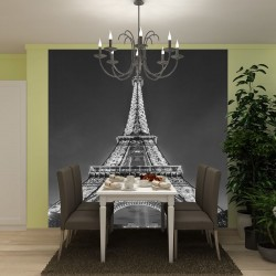 Wall murals highlighted Eiffel tower in grey