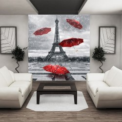 Wall murals Eiffel tower and red umbrellas