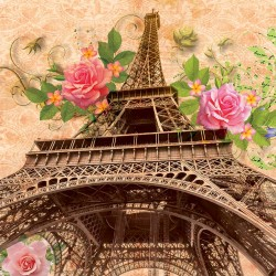 Wall murals vintage colorfull composition of Paris with roses in 2 variants