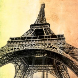 Wall murals Eiffel tower on two-color plaster background in 2 variants