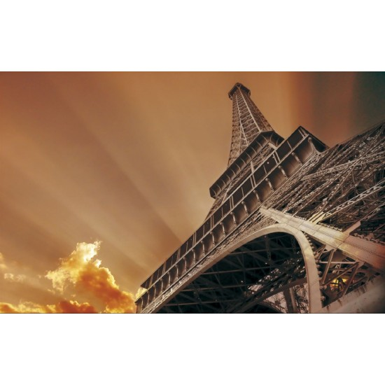Photo mural  Eiffel tower in orange-brown gamut