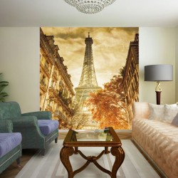Wall mural retro card of a city view in Paris