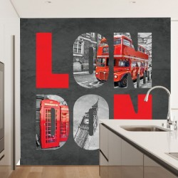London collage with letters