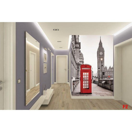 Wall murals London view red cabin and tower Big Ben 2 options