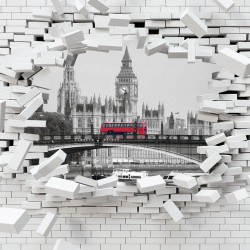 Photo mural broken brick wall view from London