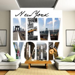Photo mural New York photo collage with lettering