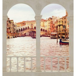 Wallpapers mural view Rialto Bridge Venice with and without columns