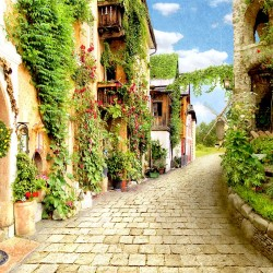 Photo mural an ancient street with flowers and a mill
