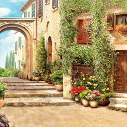 Photo mural an antique street vault with beautiful flowers and pots