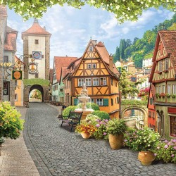 Photo mural ancient a romantic view of beautiful Rothenburg