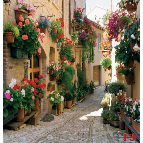 Wallpapers mural retro street with beautiful flowers