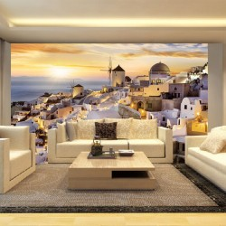 Photo murals sunset over Santorini magnificent view yellow