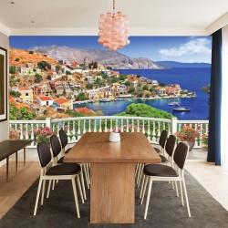 Wallpapers 3d Greek sea views over railing