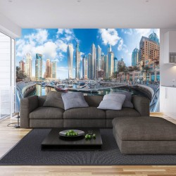 Photo murals wonderful view of Dubai buildings and yachts