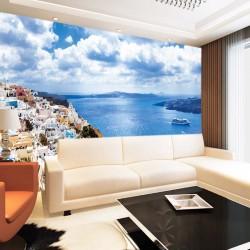 Photo murals wonderful panorama Santorini of white houses and sea