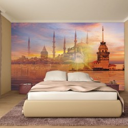 Photo mural compilation Istanbul with a mosque