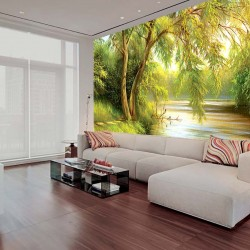 Photo mural painted landscape wood near the lake