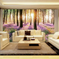 Photo mural beautiful natural forest with painted flowers