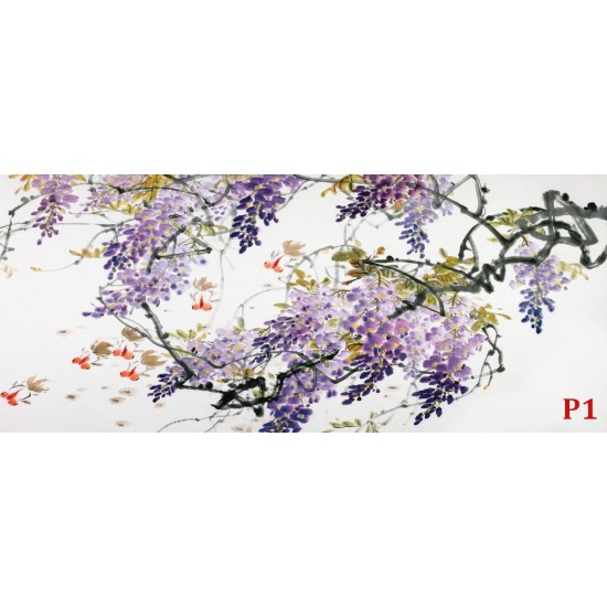 Photo mural art branches in purple