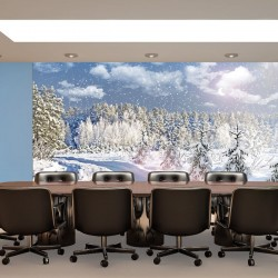 Wall mural winter landscape with pine trees