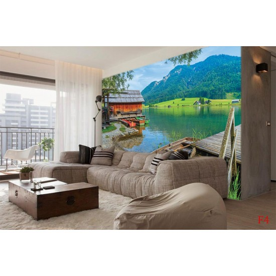 Wallpapers mural view of mountain lake with boats and bridge