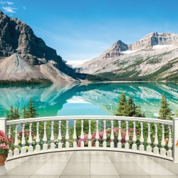 Wallpapers View a mountain lake through a railing