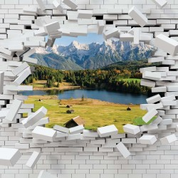 Photo mural broken brick wall view from mountain and lake