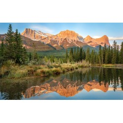 Photo mural a mirrored view of an orange mountain with a lake