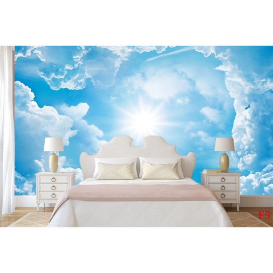 Wallpapers mural blue sky with clouds 2