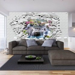 Photo mural broken brick wall view from waterfall with flowers
