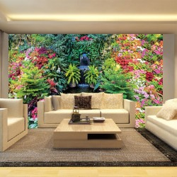 Photo mural fabulously beautiful garden waterfall