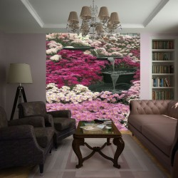 Photo mural garden waterfall with pink flowers