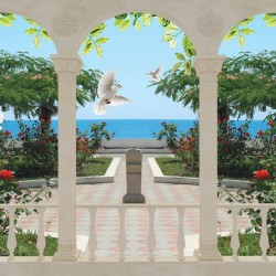 Wallpapers Arch classic with view of the garden and pigeons