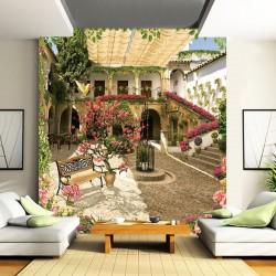 Wallpaper picturesque Villa garden with rose wood