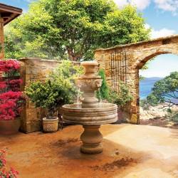Wallpaper courtyard garden with fountain