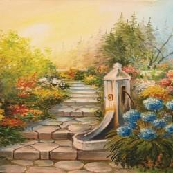 Wallpaper  painted garden path