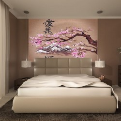 Wallpapers mural Chinese pattern with pink branch