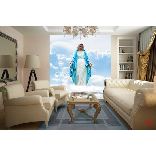 Photo wall statue of the Virgin Mary in blue clouds