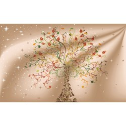Wall murals  tree with ornaments elegant on background in 2 options